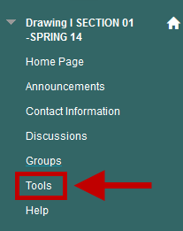 The location of the Tools link in the Course Menu.