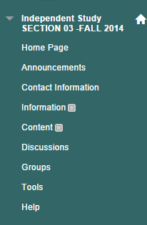 Course menu: Home Page, Announcements, Contact Information, Information, Content, Discussions, Groups, Tools, Help