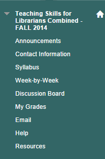 Course Menu: Announcements, Contact information, Syllabus, Week-by-Week,Discussion Board, My Grades, Email, Help, Resources