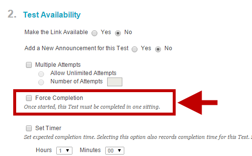 force completion located under 2. Test Availability