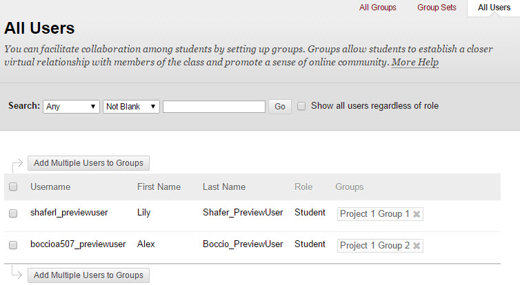 Figuring out which students are in which groups is much more straightforward using the Users link in the upper right corner.
