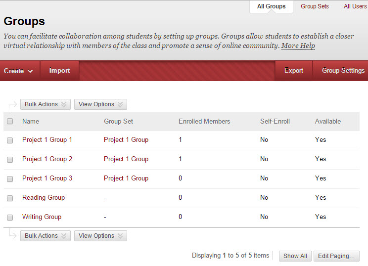 The main groups screen has been enhanced with more options.