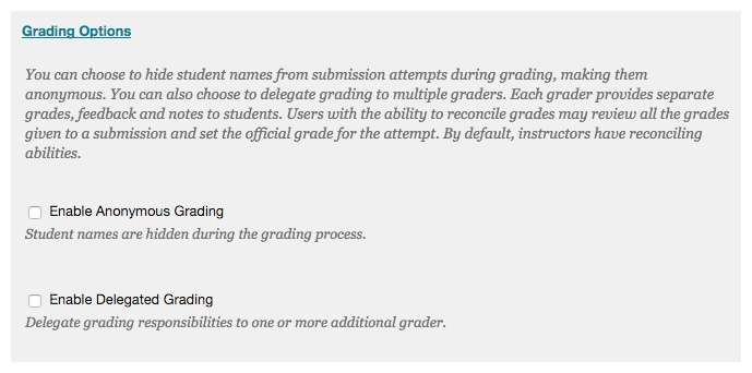 The Grading Options section allows you to set up Anonymous and Delegated Grading.