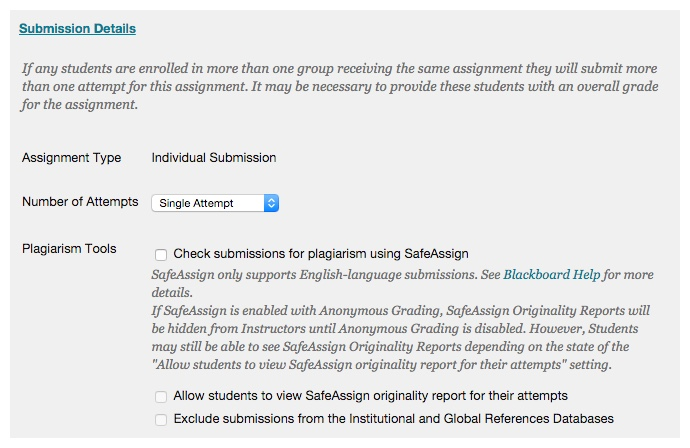 The Submission Details area includes attempt and SafeAssign options.