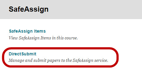 Location of the DirectSubmit Link under Tools > SafeAssign