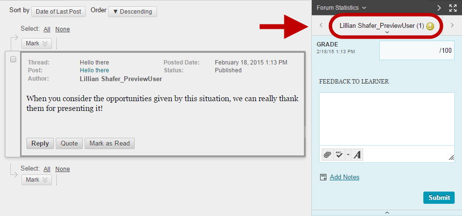 Screen capture of the discussion grading page