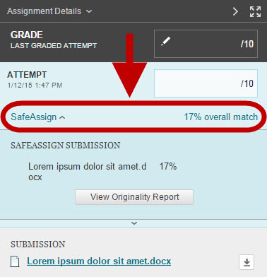 Location of SafeAssign results in InLine Grading page