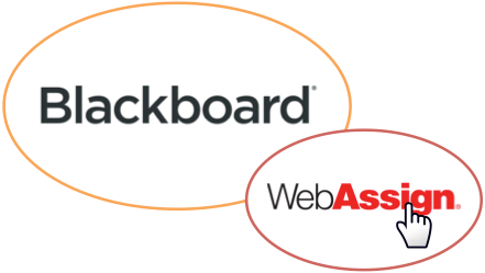 Cursor hovered over WebAssign logo within Blackboard logo