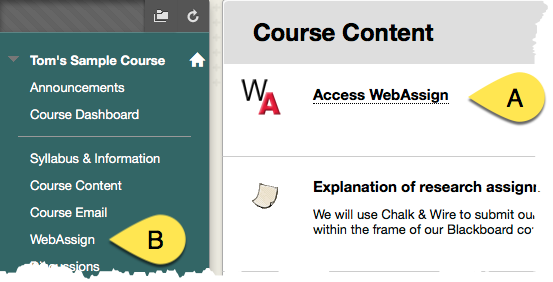webassign links in menu and course content area