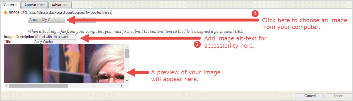Upload image pop-up window.
