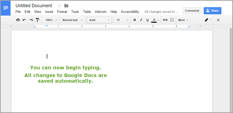 What a New Google Doc Looks Like