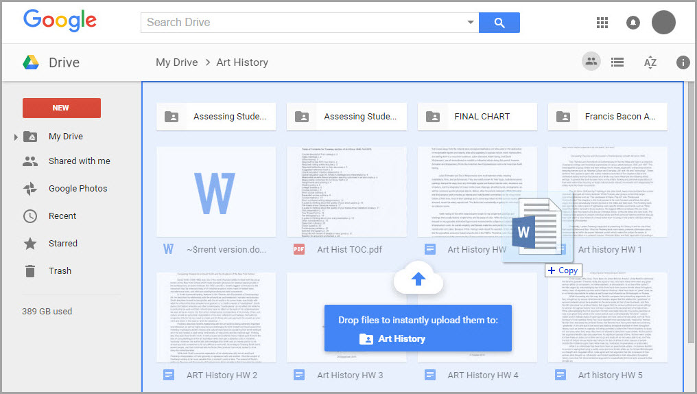 How to upload a document from the Google Docs page