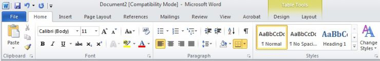the Style menu in Word 2010