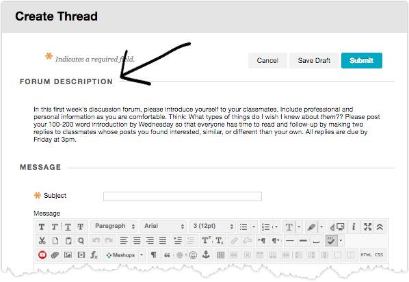 Create thread screen with Forum Description followed by Message subject and body