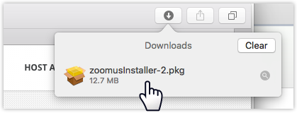 Browser download list showing zoom package