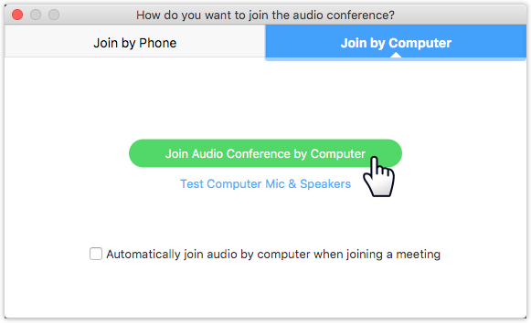Dialog box for choosing how to connect to audio source