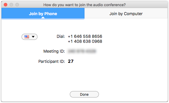 Dialog box for dialing into Zoom conference