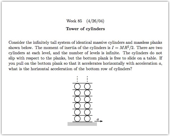 Physics problem - tower of cylinders