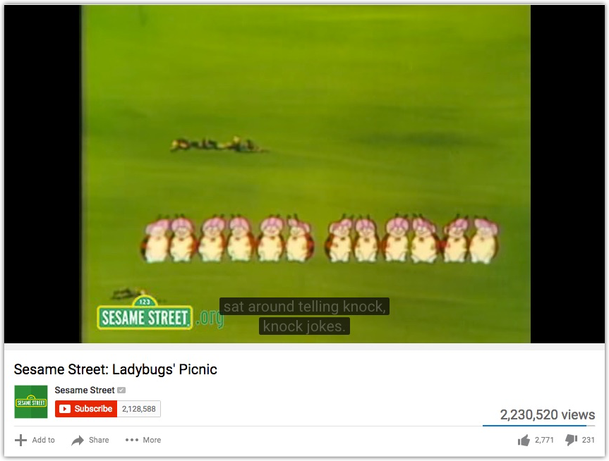 An example of YouTube's auto-captions