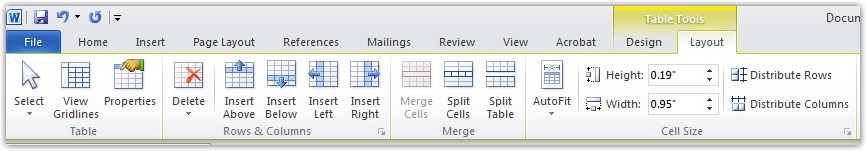 the Merge Cells menu in Word.