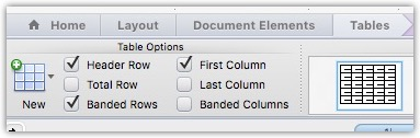 The Table Tools Design menu in Word for Mac 2011.