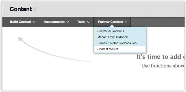 The Partner Content menu in Blackboard.