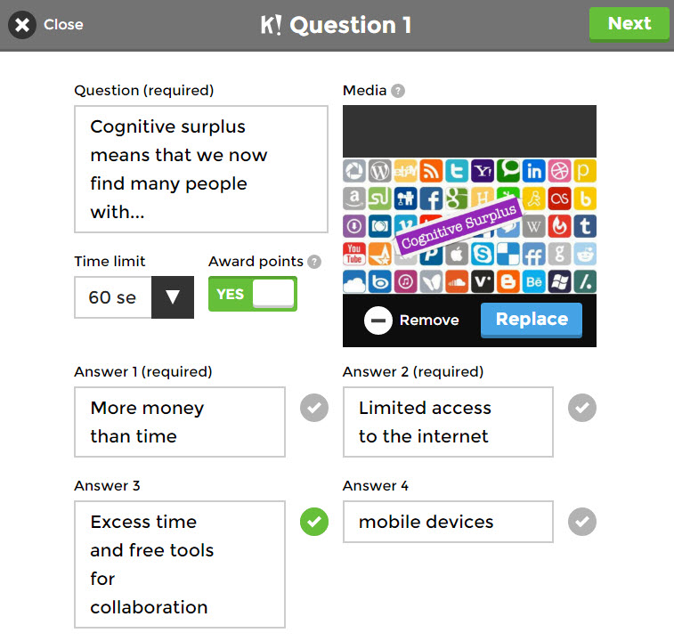 question setup screen in kahoot