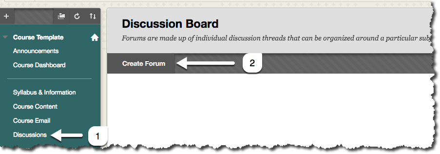The steps to creating a discussion board are to first choose the Discussions link in the Course Menu, and then to choose the Create Forum link on the Discussion Board menu bar.