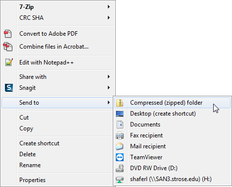 menu for zipping file on PC