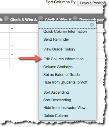 The Edit Column Information in the drop-down menu in Full Grade Center.