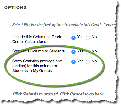 The Options section in the Create or Edit Grade Column menu, where the Show Statistics checkbox is located.