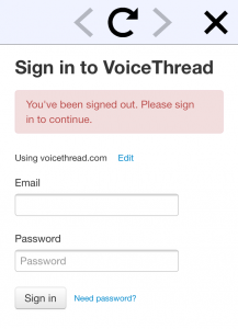 VoiceThread mobile login page