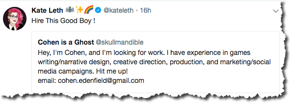 A retweet of a tweet by a job seeker.