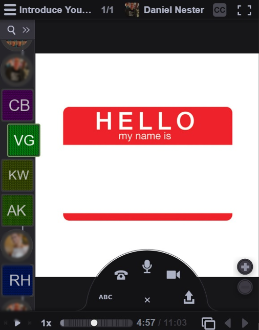 "Sample VoiceThread screenshot with ""hello my name is"" in the media pane."