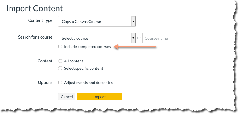 """A screenshot indicating the """"Include completed courses"""" checkbox on the Import Content screen."""