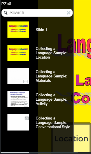 Image of table of contents auto-generated by Camtasia using timeline markers