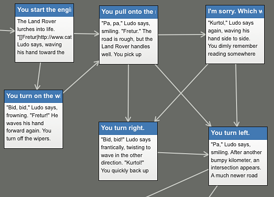 Image of a flow-chart used to create a branched learning experience
